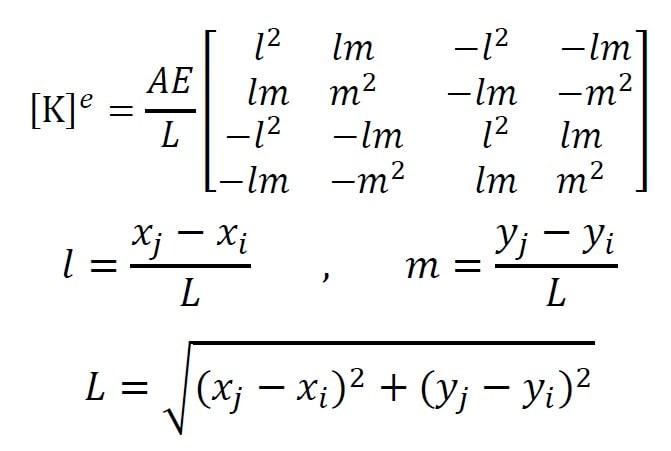محاسبه ماتریس سختی خرپا