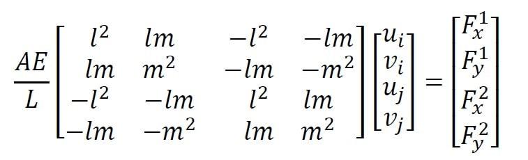 معادله مشخصه یک المان خرپا